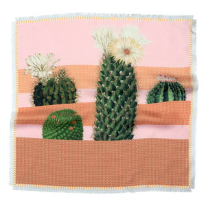 cactus printed small pink and beige silk scarf with fringes