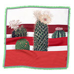 cactus printed small red and white silk scarf with fringes