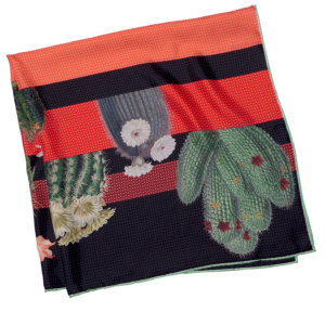 cactus printed big red and black silk scarf folded