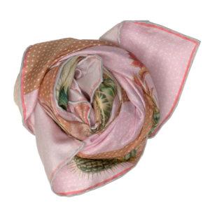 cactus printed big beige and pink silk scarf bundle