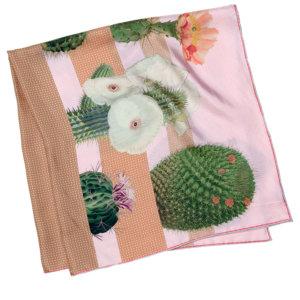 cactus printed big beige and pink silk scarf folded