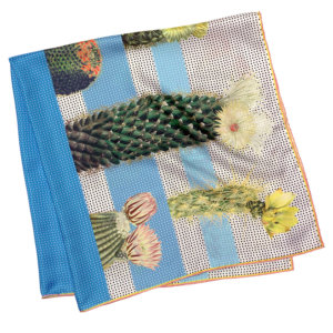 cactus printed big blue and white silk scarf folded