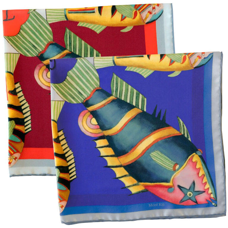 fish printed silk pocket squares with hand embroidery