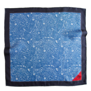 blue arabesque pocket square with initial embroidery on red tip