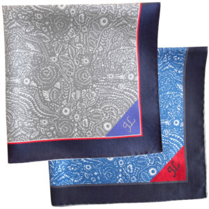 arabesque printed silk pocket squares with hand embroidery
