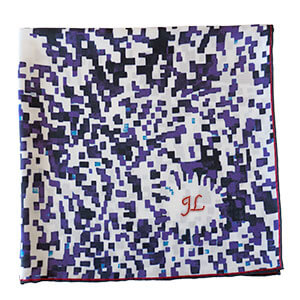 mosaic printed blue and white silk scarf with initial embroidery