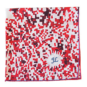 mosaic printed red and white silk scarf with initial embroidery