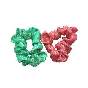 printed silk twill hair scrunchies