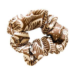 clayand cream color leaf printed silk hair scrunchie