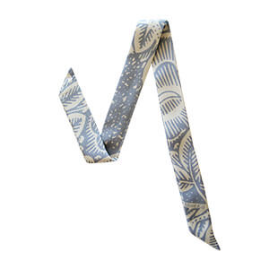 light blue and off-white leaf printed silk wristband