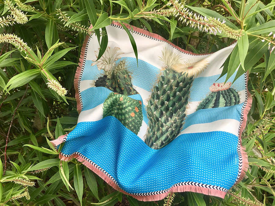 cactus printed blue degrade small silk scarf with fringes