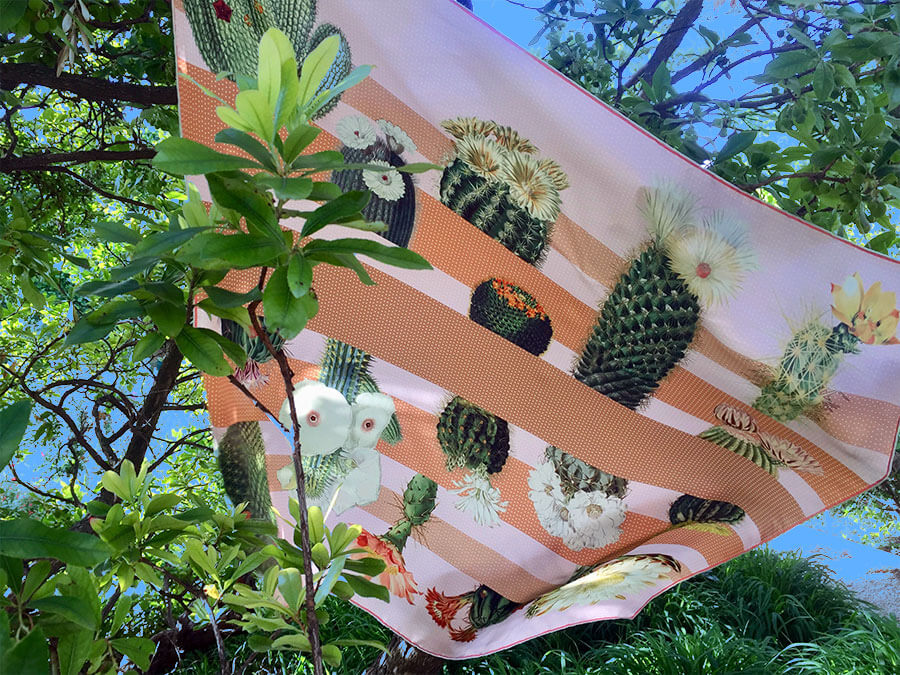 cactus printed big pink and sand silk scarf with trees