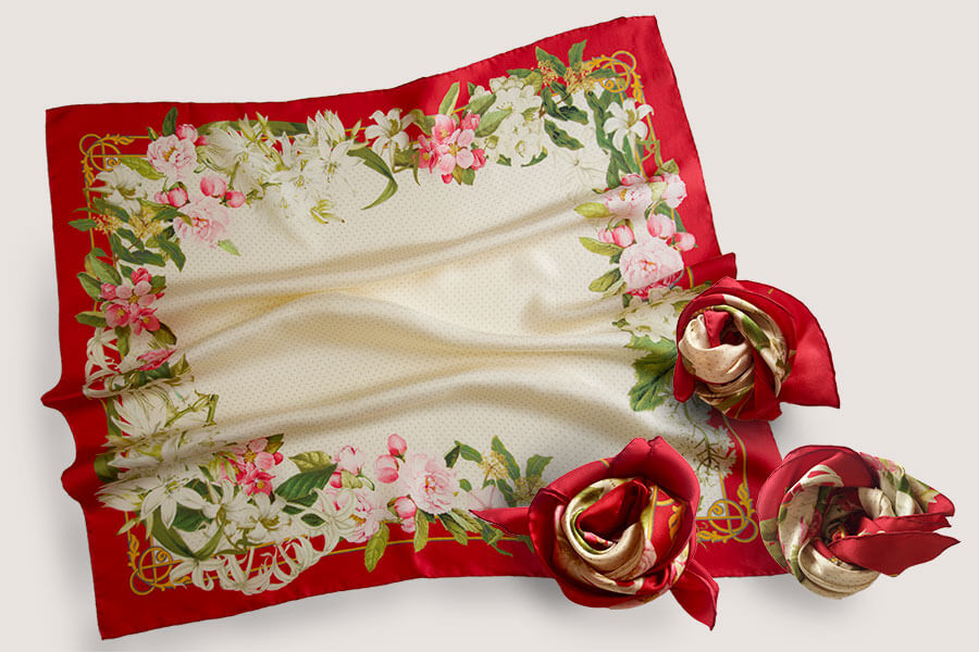 flower printed cream personalized scarf with red boarder