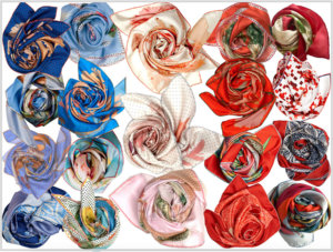 blue, white and red bunches of silk scarves