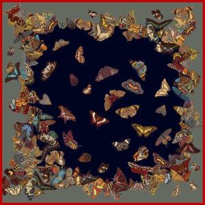 flying butterflies printed big dark grey silk scarf