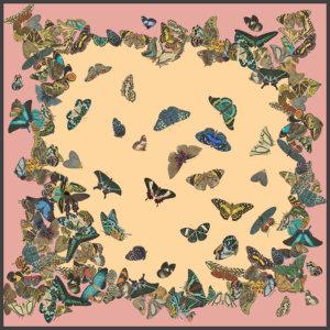 dancing butterflies printed big pale pink silk scarf