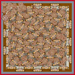 all over butterfly and flower printed caramel color silk scarf