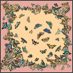 dancing butterflies printed big pale pink silk scarf