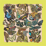 all over butterfly printed cream and yellow small silk scarf