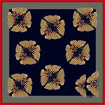 pair of butterflies printed small dark silk scarf
