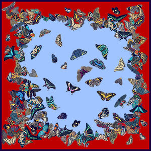 dancing butterflies printed big red and blue silk scarf