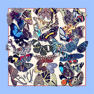 all over butterfly printed small blue silk scarf