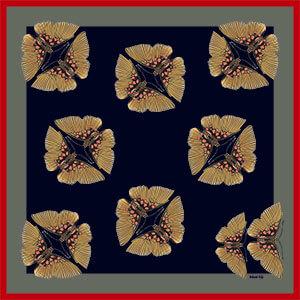 pair of butterflies printed small dark silk scarf