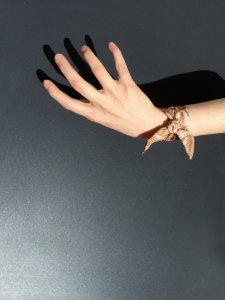 tan and pink leaf printed silk wristband