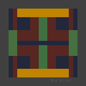 artist perrodin collaboration small multi-color geometric silk scarf