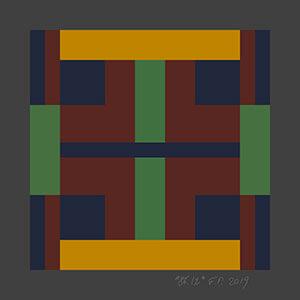 artist perrodin collaboration big multi-color geometric silk scarf