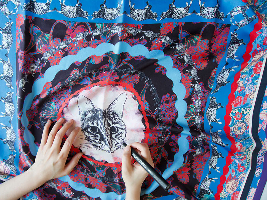 all over cat printed personalized blue silk scarf