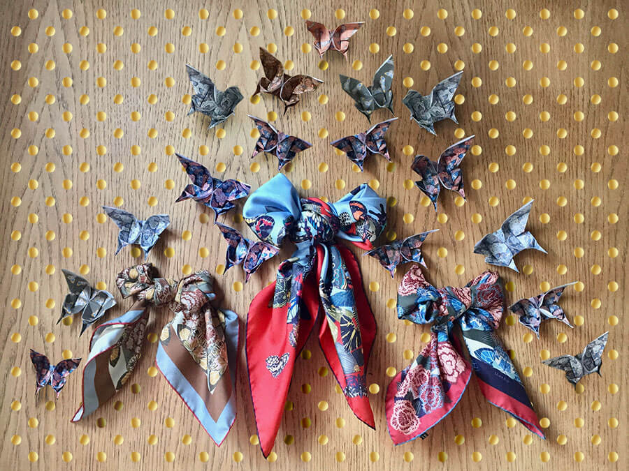 butterfly printed silk scarves in bow with origami butterflies