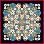 shell motif and leaf printed blue silk scarf