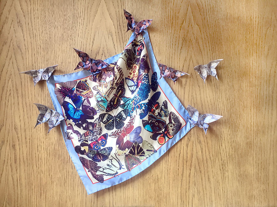 butterfly printed light blue silk scarf help my origami butterflies
