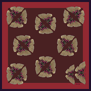 pair of butterfly printed bordeaux color silk scarf