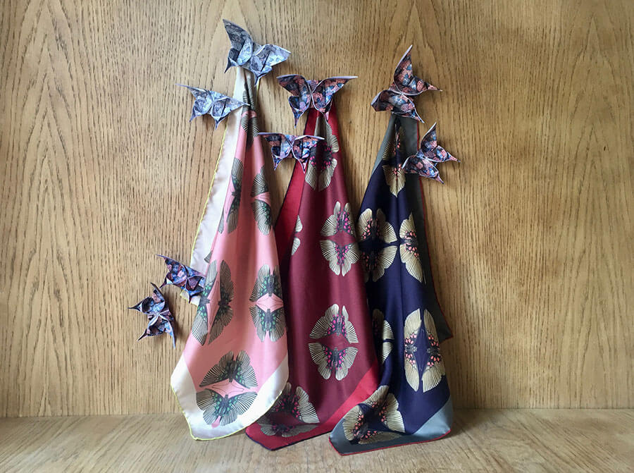 pair of butterfly printed will scarves in pink, red and dark blue