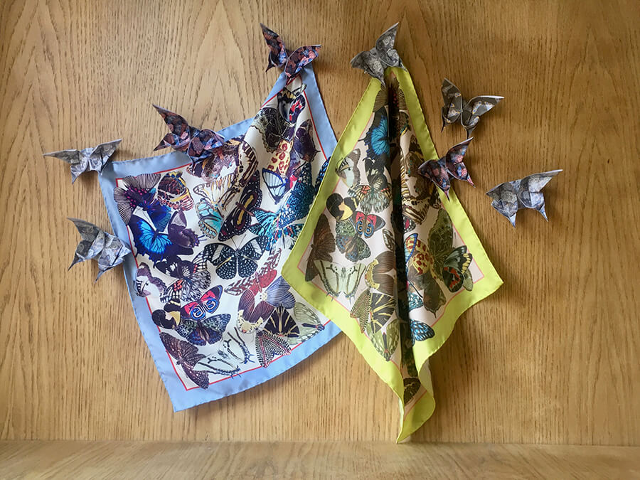 all over butterflies printed silk scarf with origami butterflies