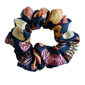 seashell printed off navy color silk hair scrunchy