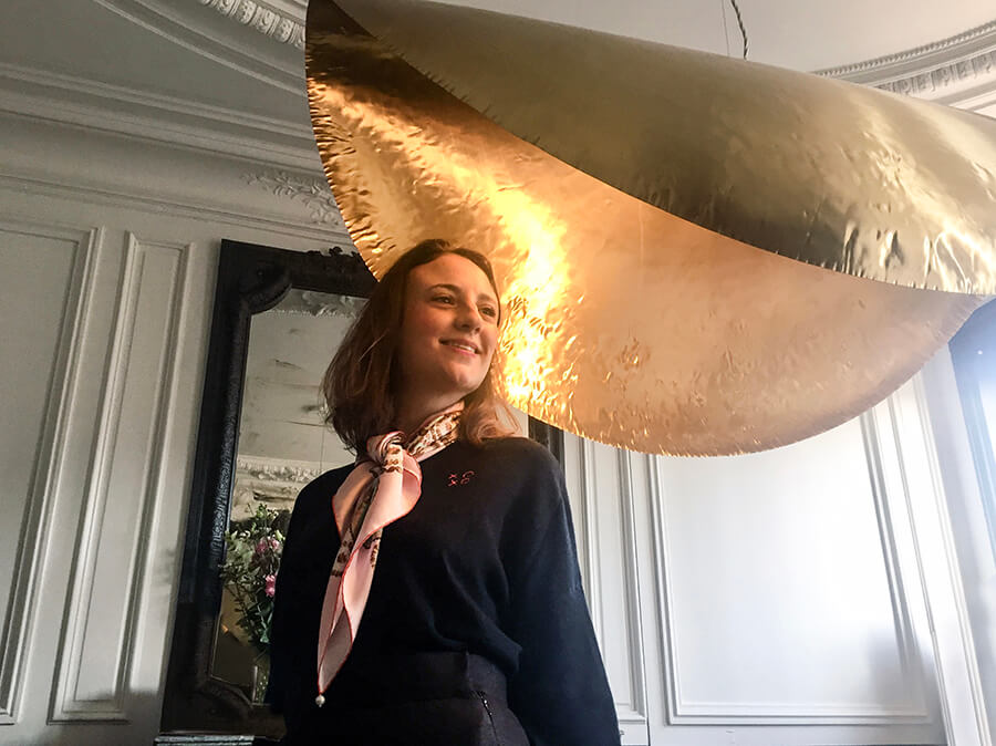 sea shell printed pink silk scarf with golden lamp shade